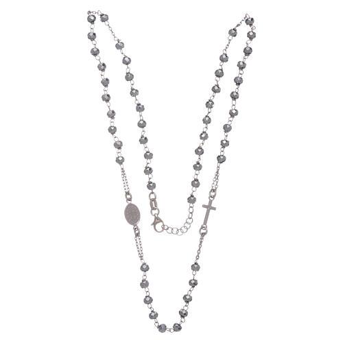 Rosario girocollo argento 925 colore silver sfera ematite rodio 5 mm 3