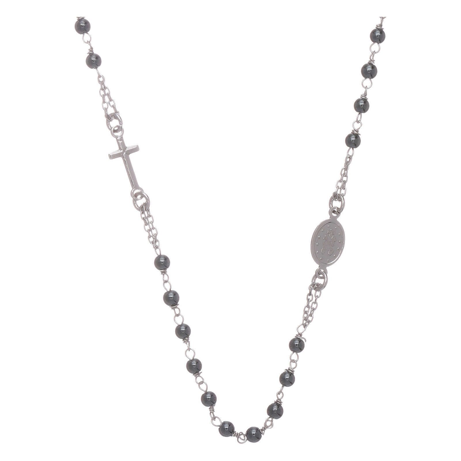 Rosary choker with 4 mm hematite ball, silver colour 4