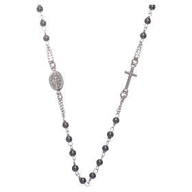 Rosary choker with 4 mm hematite ball, silver colour s1