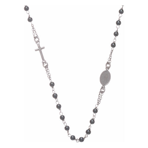 Rosary choker with 4 mm hematite ball, silver colour 2