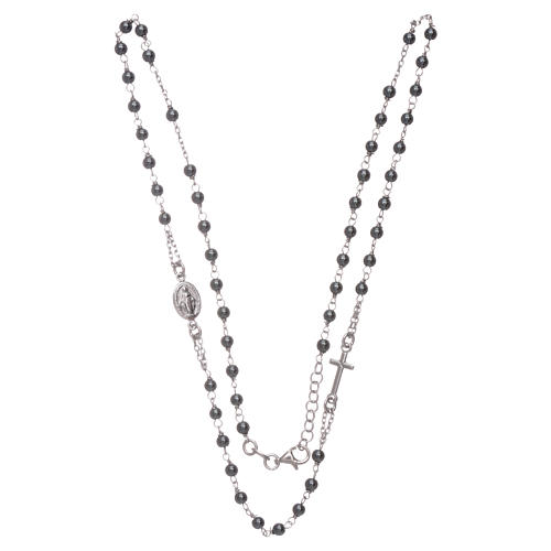 Rosary choker with 4 mm hematite ball, silver colour 3