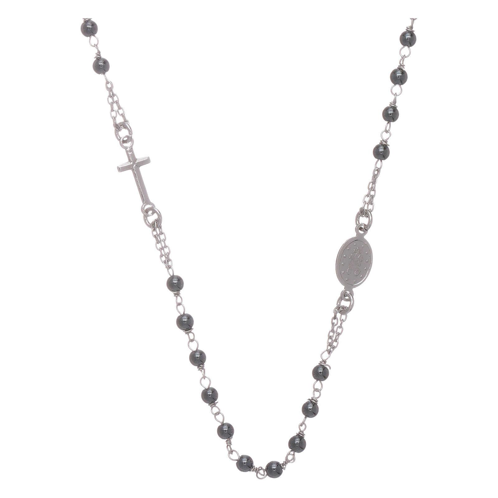 Rosario gargantilla bolita 4 mm hematites y color silver 4