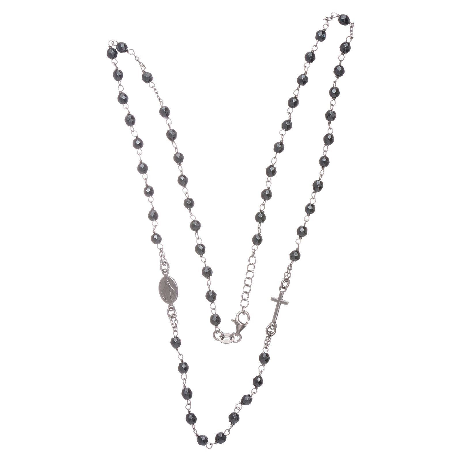Rosary choker silver with 4,7 mm hematite sphere 4