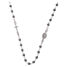 Rosary choker silver with 4,7 mm hematite sphere s1