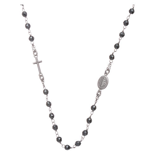 Rosary choker silver with 4,7 mm hematite sphere 1