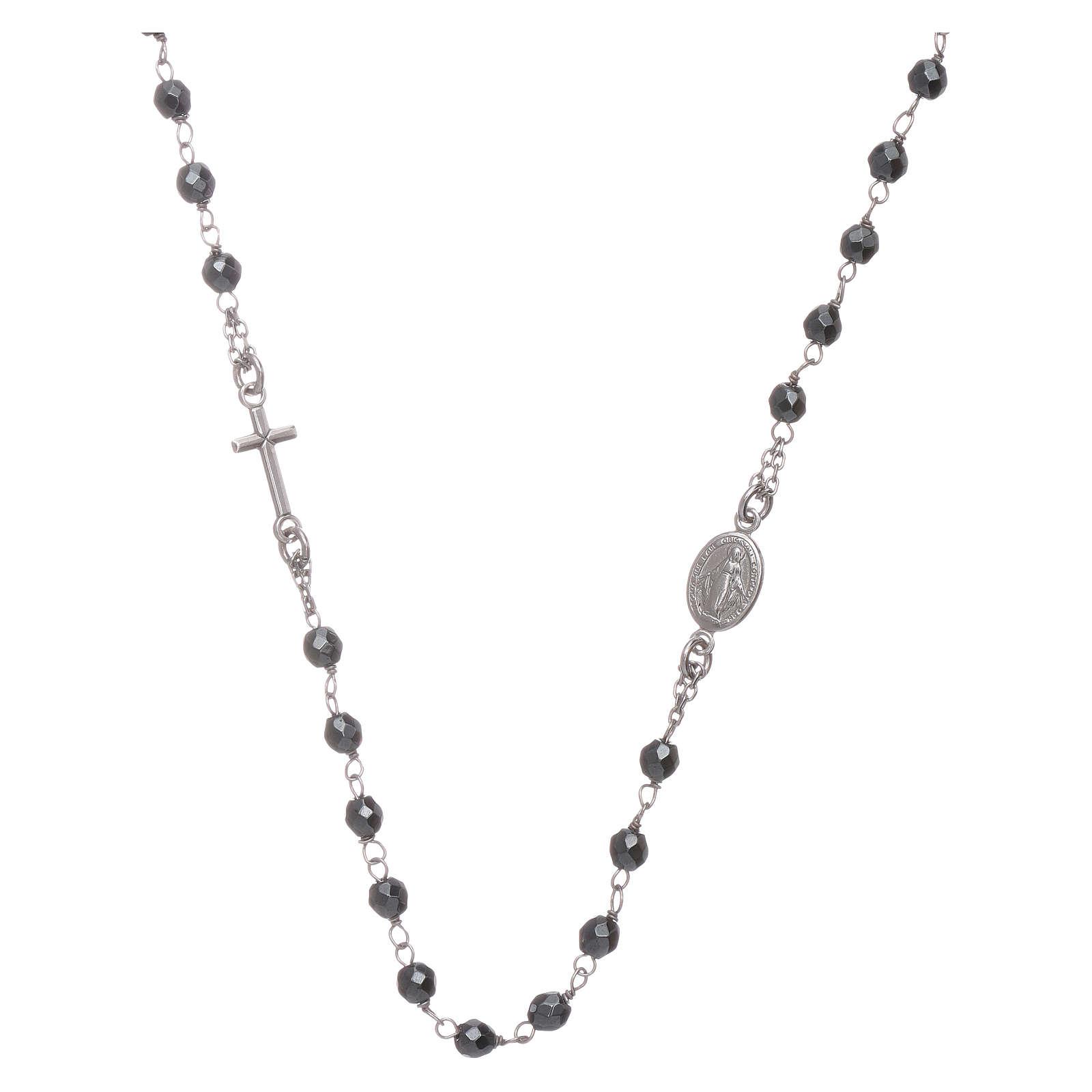 Rosario girocollo silver e sfera in ematite 4,7 mm 4