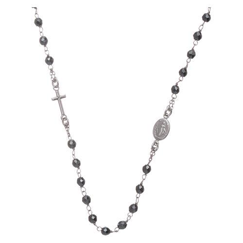 Rosario girocollo silver e sfera in ematite 4,7 mm 1