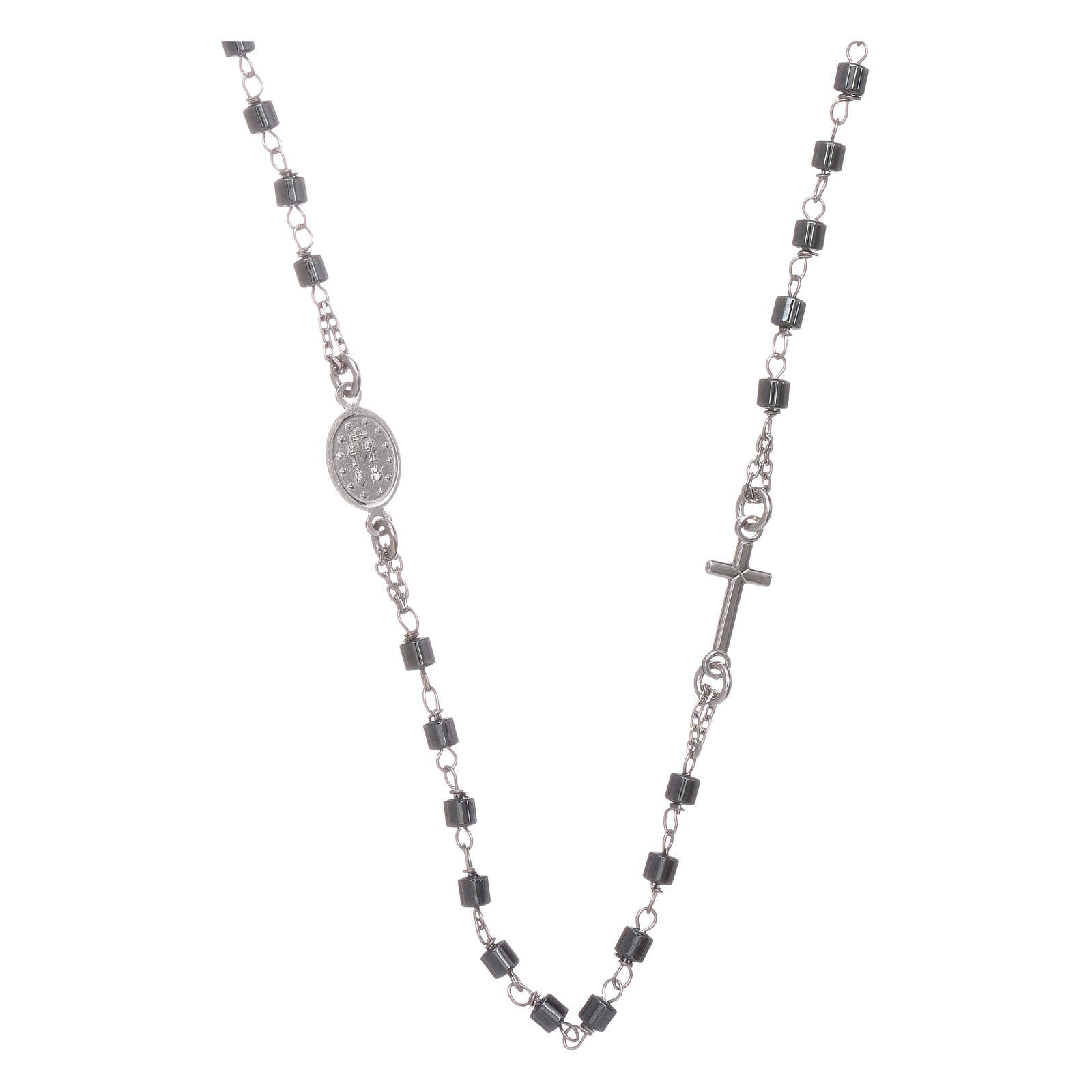 Rosary choker silver with cylindrical hematite spheres 4