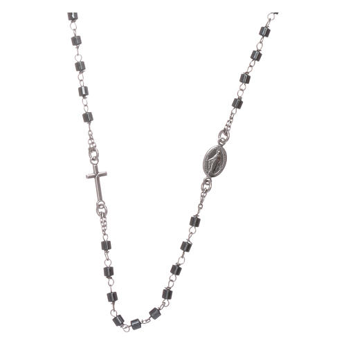 Rosary choker silver with cylindrical hematite spheres 1