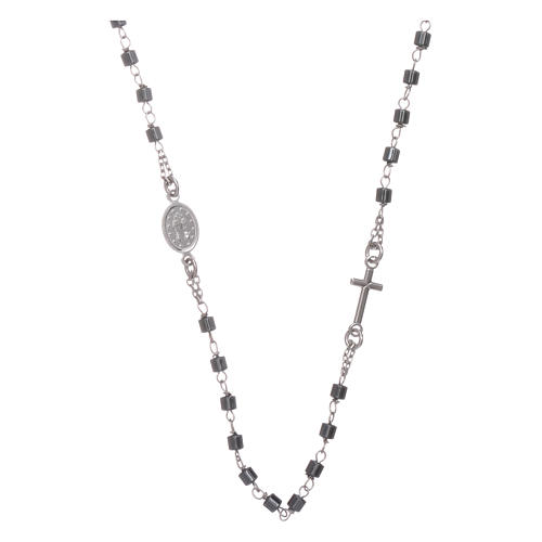 Rosary choker silver with cylindrical hematite spheres 2