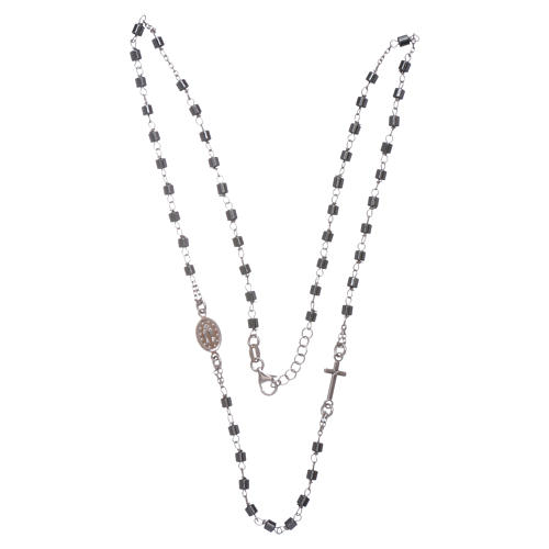 Rosary choker silver with cylindrical hematite spheres 3