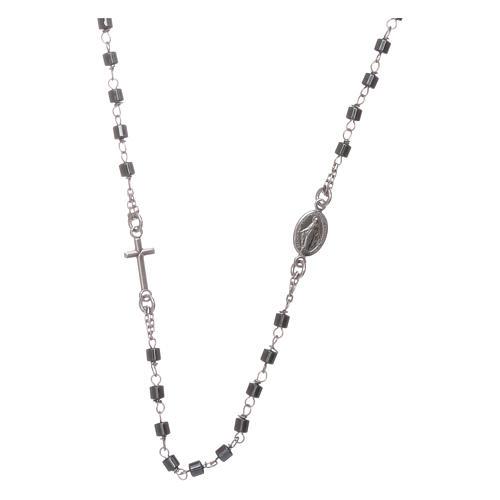 Rosario girocollo argento e cilindro ematite 1