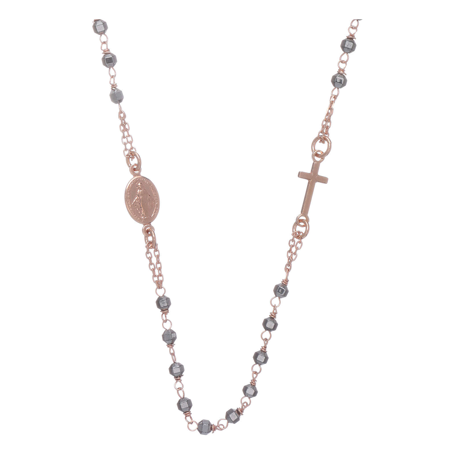 Rosary choker copper with 3,7 mm hematite grains 4