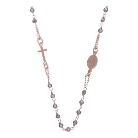 Rosary choker copper with 3,7 mm hematite grains s2