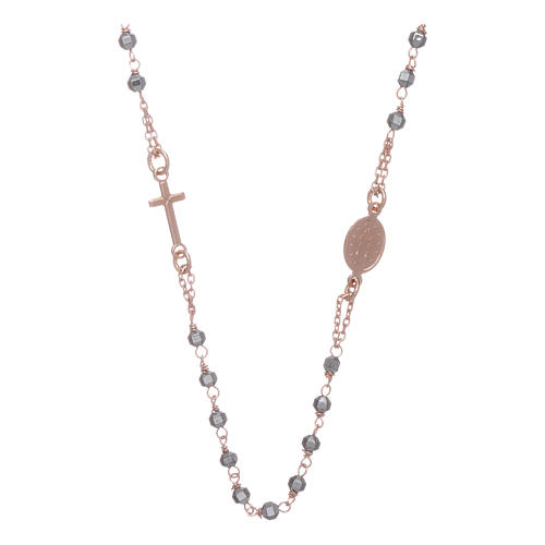 Rosary choker copper with 3,7 mm hematite grains 2