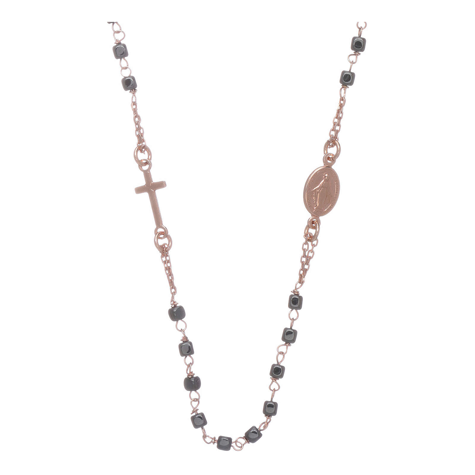 Rosary choker copper with square hematite grains 4