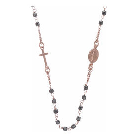 Rosary choker copper with square hematite grains s1