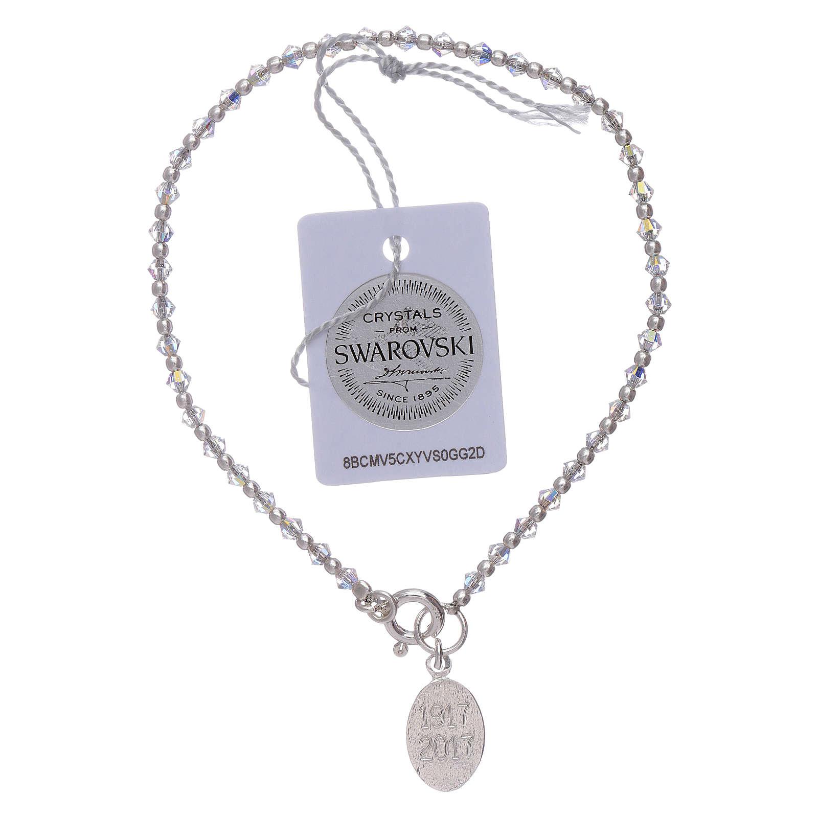 Bracciale ciondolo argento Madonna di Fatima e Swarovski 4