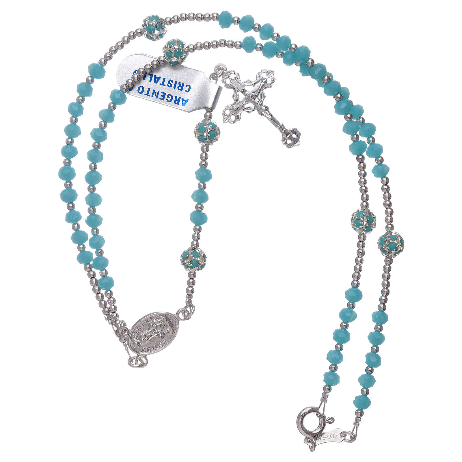 Rosary Our Lady of Fatima's centerpiece in silver and crystal 4