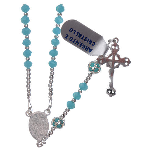 Rosary Our Lady of Fatima's centerpiece in silver and crystal 2