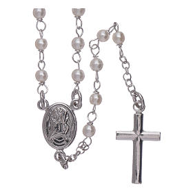Silver rosary beads: AMEN classic rosary Jubilee with Swarovski pearls in 925 sterling silver