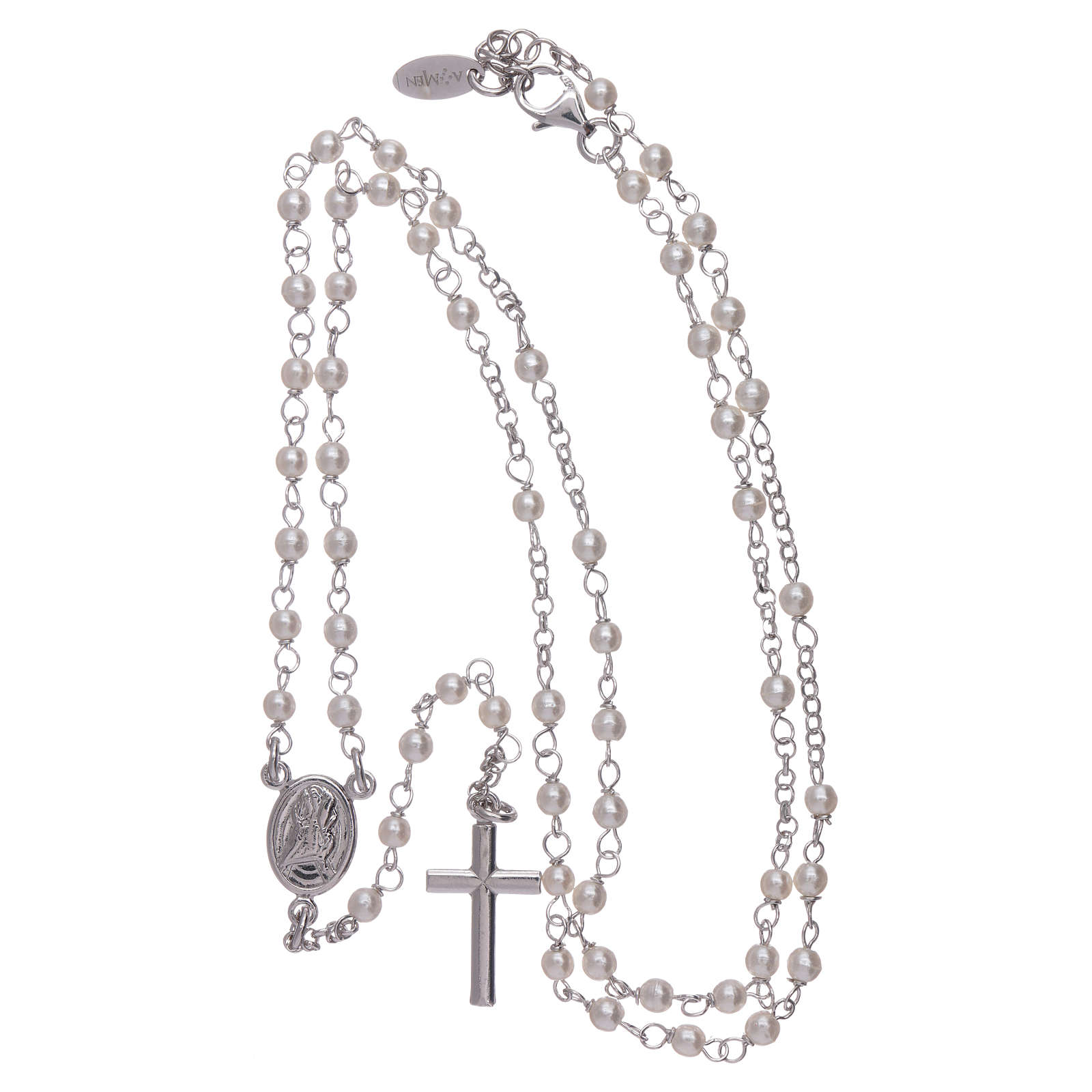 Różaniec klasyczny AMEN Jubileusz perły Swarovskiego i srebro 925 4