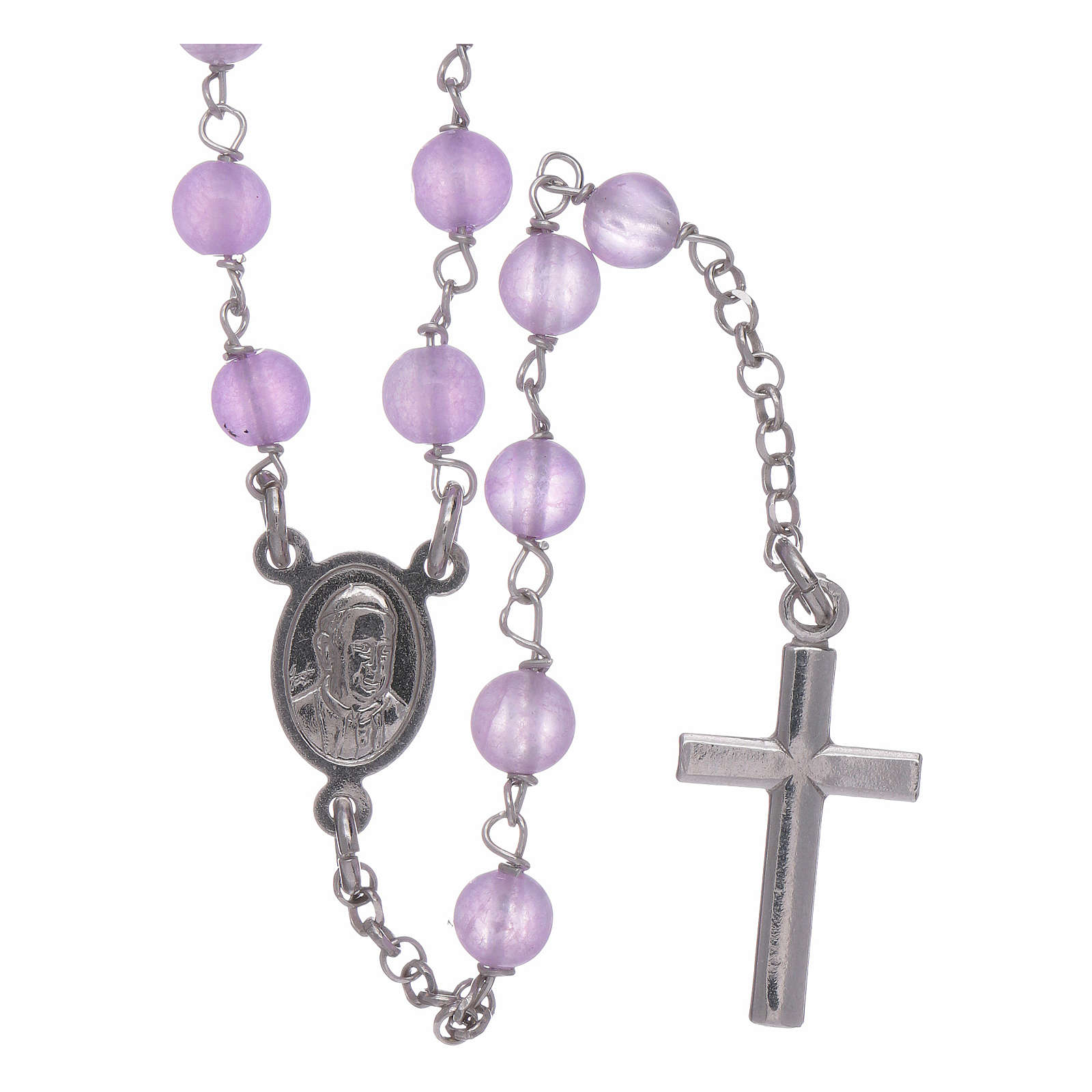 AMEN rosary classic model with lilac jade spheres in 925 sterling silver 4