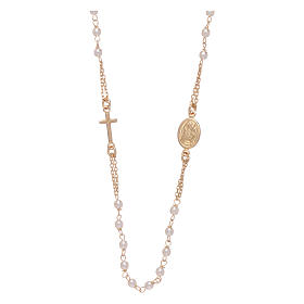 Rosary choker AMEN for Jubilee in 925 sterling silver finished in gold with Swarovski pearls s1