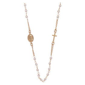 Rosary choker AMEN for Jubilee in 925 sterling silver finished in gold with Swarovski pearls s2