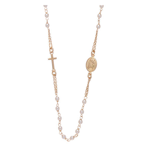 Rosary choker AMEN for Jubilee in 925 sterling silver finished in gold with Swarovski pearls 1