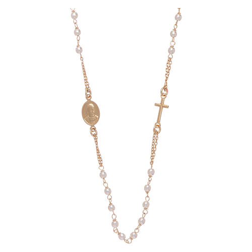 Rosary choker AMEN for Jubilee in 925 sterling silver finished in gold with Swarovski pearls 2