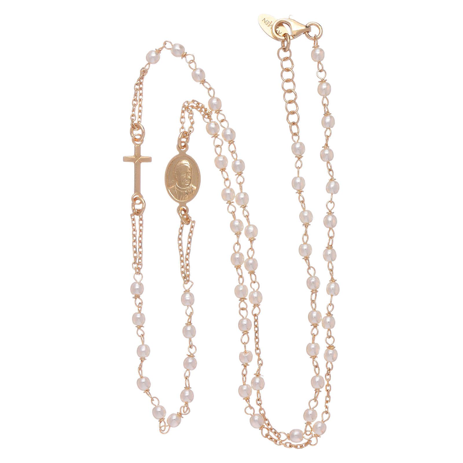 Rosario gargantilla AMEN Jubileo plata 925 dorado perlas Swarovski 4