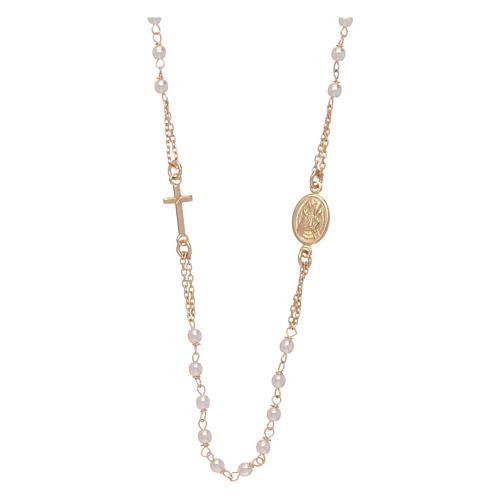 Chapelet tour de cou AMEN Jubilé argent 925 doré perles Swarovski 1
