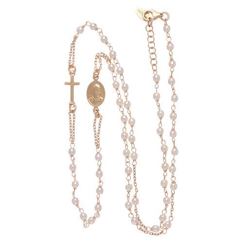 Chapelet tour de cou AMEN Jubilé argent 925 doré perles Swarovski 3