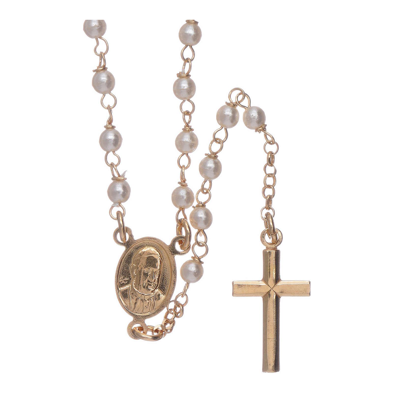 Rosario classico AMEN Giubileo argento 925 dorato e perle Swarovski 4