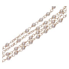 Rosario classico AMEN Giubileo argento 925 dorato e perle Swarovski s3