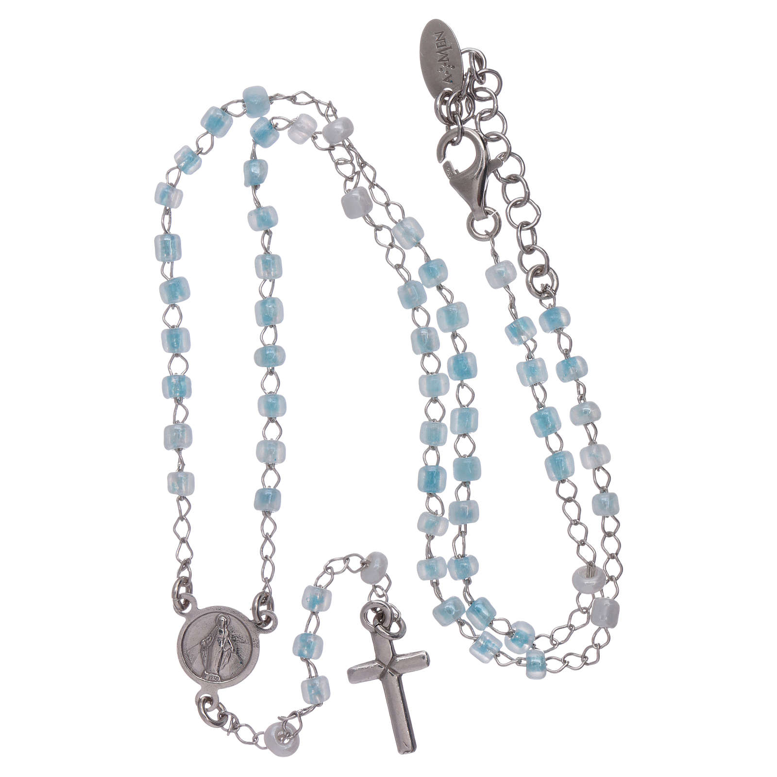 Classic rosary AMEN junior model in 925 sterling silver with crystals 4