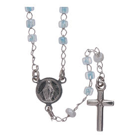 Classic rosary AMEN junior model in 925 sterling silver with crystals s1