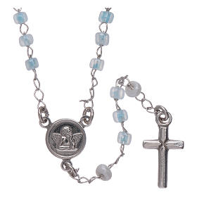 Classic rosary AMEN junior model in 925 sterling silver with crystals s2