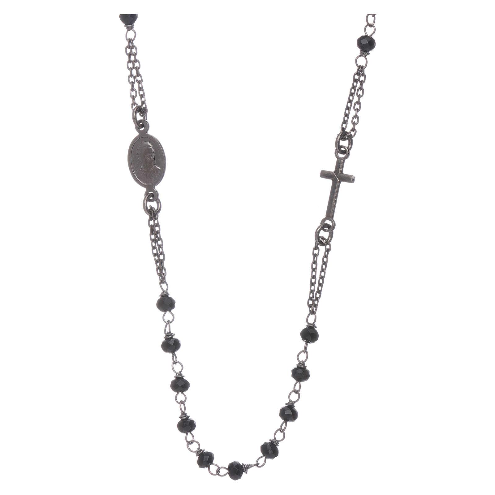 Rosario girocollo AMEN cristalli e argento 925 brunito 4