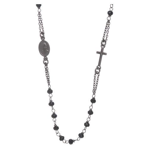 Rosario girocollo AMEN cristalli e argento 925 brunito 2