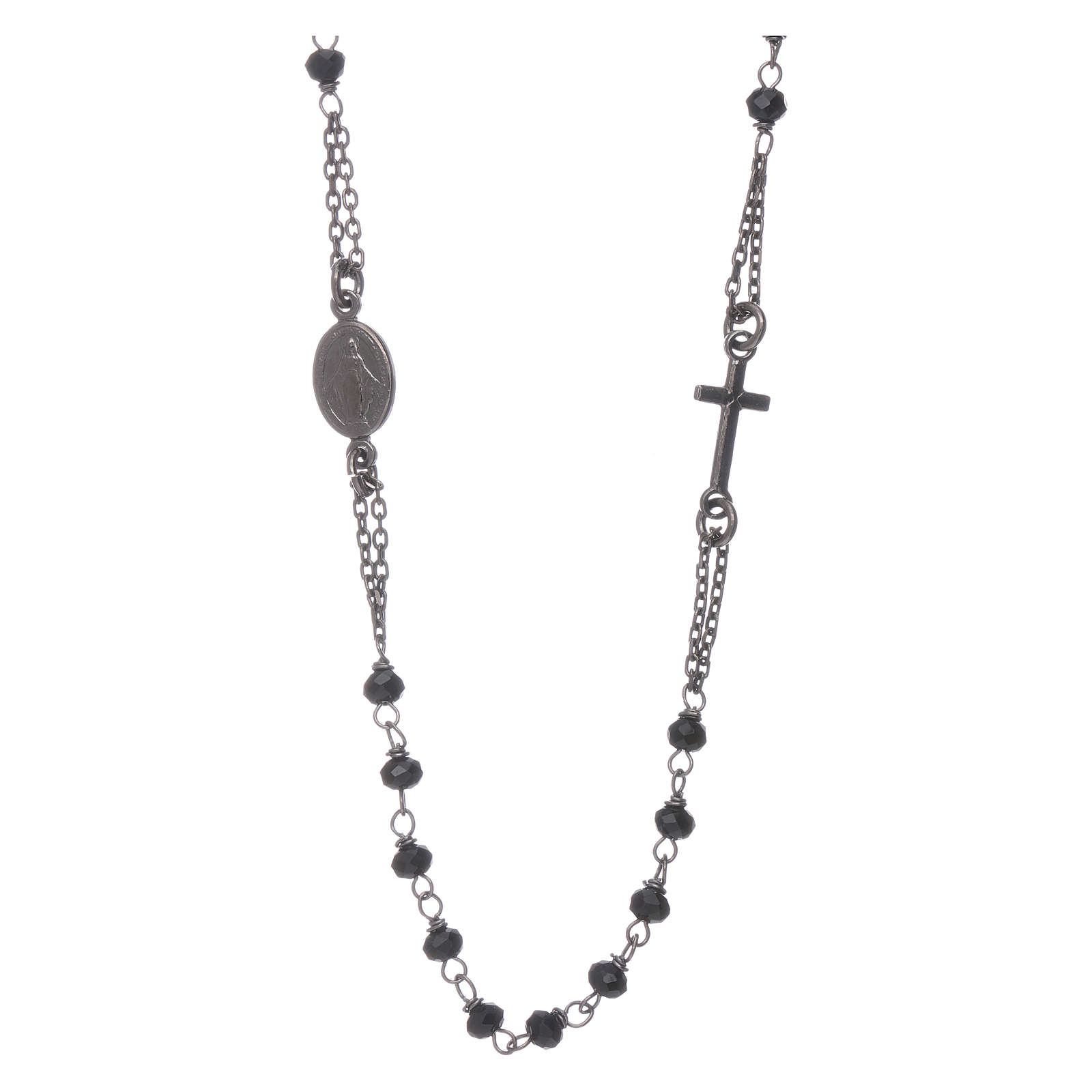 Rosary choker AMEN with crystals in burnished 925 sterling silver 4