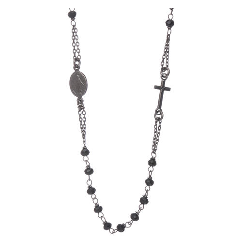 Rosary choker AMEN with crystals in burnished 925 sterling silver 1