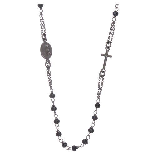 Rosary choker AMEN with crystals in burnished 925 sterling silver 2