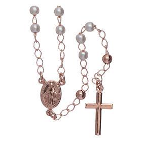 Rosario classico AMEN perle e argento 925 rosé s1