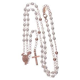 Rosario classico AMEN perle e argento 925 rosé s4