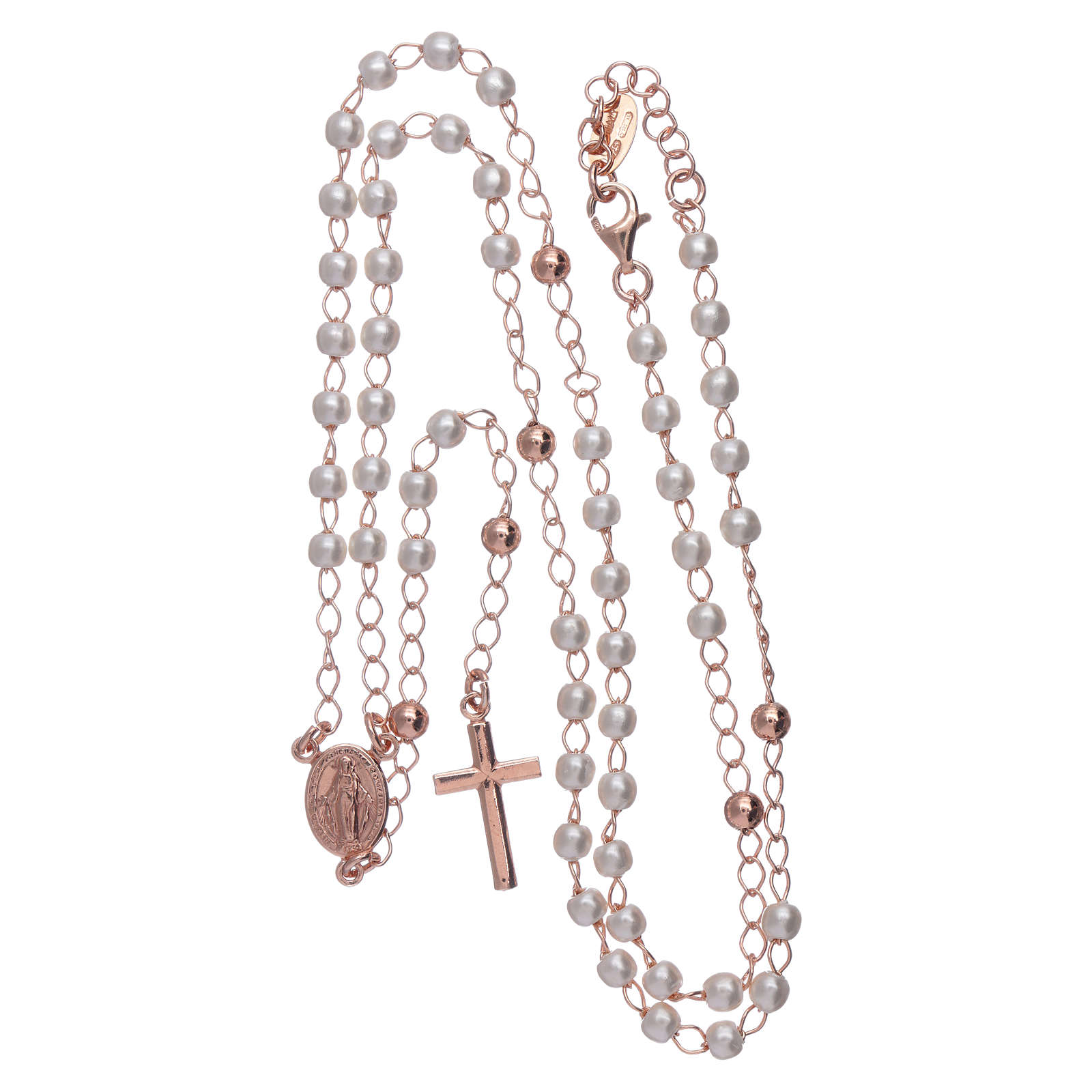 Classic rosary AMEN rosè with pearls in 925 sterling silver 4