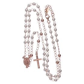 Classic rosary AMEN rosè with pearls in 925 sterling silver s4