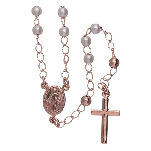 Classic rosary AMEN rosè with pearls in 925 sterling silver 1