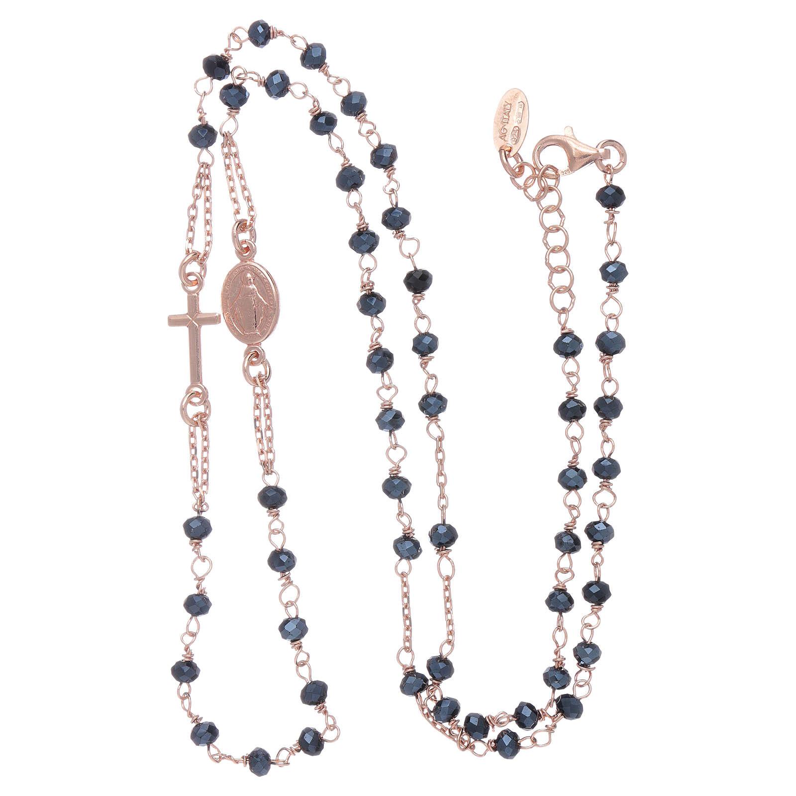 Rosario girocollo di cristalli AMEN argento 925 rosé 4